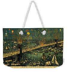Weekender Tote Bag featuring the photograph New York And Brooklyn Bridge Opening Night Fireworks by John Stephens