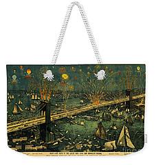 New York And Brooklyn Bridge Opening Night Fireworks Weekender Tote Bag by John Stephens