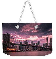 Weekender Tote Bag featuring the photograph New York City Brooklyn Bridge Sunset by Ranjay Mitra