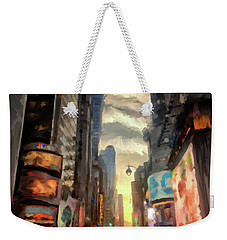 Weekender Tote Bag featuring the photograph New York City Lights by Lois Bryan