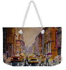 New York Cityscape Rainy Morning Commute Weekender Tote Bag