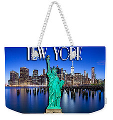 New York Classic Skyline With Statue Of Liberty Weekender Tote Bag by Az Jackson