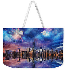New York Fireworks Weekender Tote Bag by Ian Mitchell