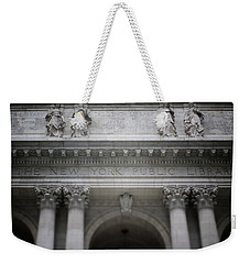 Weekender Tote Bag featuring the mixed media New York Public Library- Art By Linda Woods by Linda Woods