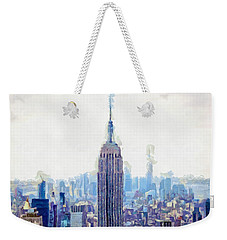 New York Skyline Art- Mixed Media Painting Weekender Tote Bag by Wall Art Prints