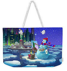 Weekender Tote Bag featuring the painting New York Snowman by Michael Humphries