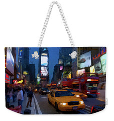 Weekender Tote Bag featuring the painting New York Yellow Cab by David Dehner