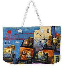 New York,red Bridge Weekender Tote Bag by Mikhail Zarovny