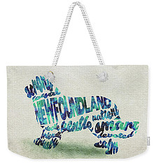 Weekender Tote Bag featuring the painting Newfoundland Dog Watercolor Painting / Typographic Art by Ayse and Deniz