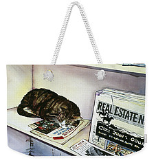 Newpaper Cat Weekender Tote Bag