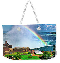 Niagara Falls And Welcome Centre With Rainbow Weekender Tote Bag by Charline Xia