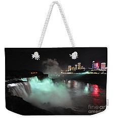 Weekender Tote Bag featuring the photograph Niagara Night Lights by Gina Savage