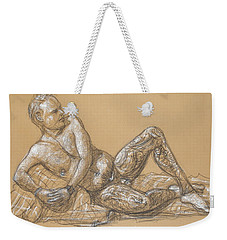 Weekender Tote Bag featuring the drawing Nick Reclining by Donelli  DiMaria