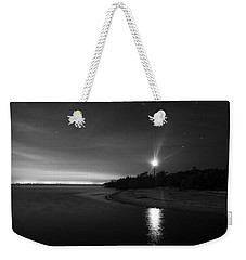 Night At The Sanibel Lighthouse In Black And White Weekender Tote Bag