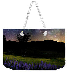 Weekender Tote Bag featuring the photograph Night Flowers Square by Bill Wakeley