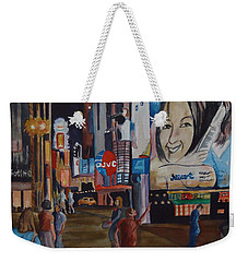 Night In Time Square Weekender Tote Bag