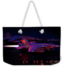 Night Launch - Uss Kitty Hawk Weekender Tote Bag