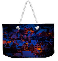 Weekender Tote Bag featuring the digital art Night Lights Abstract by Shelli Fitzpatrick