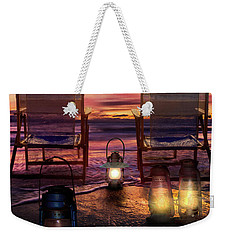 Weekender Tote Bag featuring the photograph Night Lights At Sunset by Debra and Dave Vanderlaan