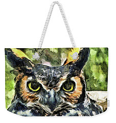 Weekender Tote Bag featuring the mixed media Night Owl by Trish Tritz