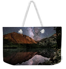 Weekender Tote Bag featuring the photograph Night Reflections by Melany Sarafis