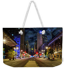 Weekender Tote Bag featuring the photograph Night Shot Of Broad Street - Philadelphia by Bill Cannon