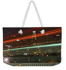 Night Shot Of Downtown Los Angeles Skyline From 6th St. Bridge Weekender Tote Bag