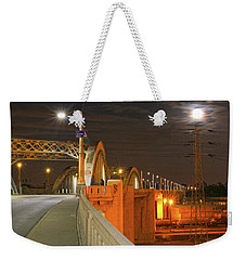 Night Shot Of The Los Angeles 6th Street Bridge And Supermoon #1 Weekender Tote Bag