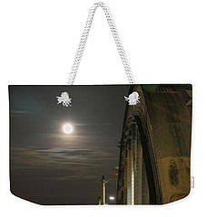 Night Shot Of The Los Angeles 6th Street Bridge And Supermoon #2 Weekender Tote Bag