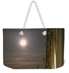 Night Shot Of The Los Angeles 6th Street Bridge And Supermoon #3 Weekender Tote Bag