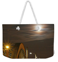Night Shot Of The Los Angeles 6th Street Bridge And Supermoon #4 Weekender Tote Bag
