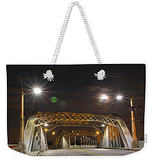 Night Shot Of The Los Angeles 6th Street Bridge And Supermoon #5 Weekender Tote Bag