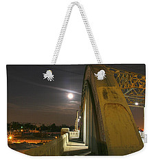 Night Shot Of The Los Angeles 6th Street Bridge And Supermoon #6 Weekender Tote Bag