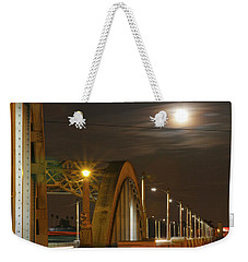 Night Shot Of The Los Angeles 6th Street Bridge And Supermoon #7 Weekender Tote Bag
