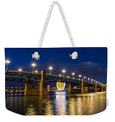 Weekender Tote Bag featuring the photograph Night Shot Of The Pont Saint-pierre by Semmick Photo