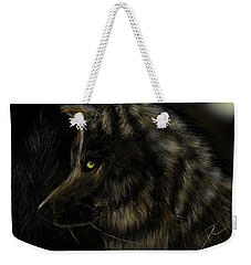Weekender Tote Bag featuring the digital art Night Silent Wolf by Darren Cannell