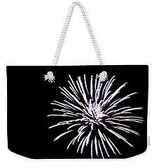 Weekender Tote Bag featuring the photograph Night Sky Fireworks by Suzanne Luft