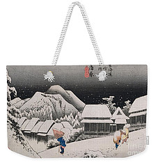 Night Snow Weekender Tote Bag