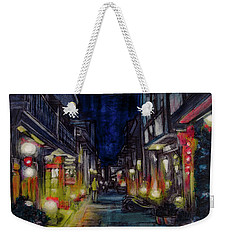Weekender Tote Bag featuring the painting Night Street by Ron Richard Baviello