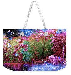 Night Trees Starry Lake Weekender Tote Bag by Saundra Myles