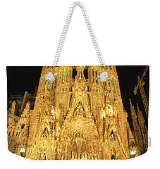 Night View Of Antoni Gaudis La Sagrada Weekender Tote Bag