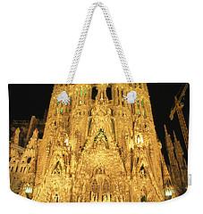 Night View Of Antoni Gaudis La Sagrada Weekender Tote Bag
