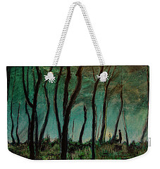 Weekender Tote Bag featuring the painting Night Walk by Ron Richard Baviello
