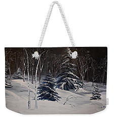 Night Time Snowy Woods Weekender Tote Bag