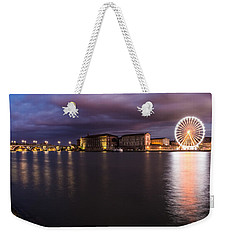 Weekender Tote Bag featuring the photograph Nightly Panorama Of The Garonne River And Pont Neuf by Semmick Photo