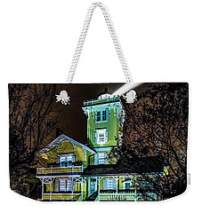 Weekender Tote Bag featuring the photograph Nighttime Fog At Hereford Inlet by Nick Zelinsky