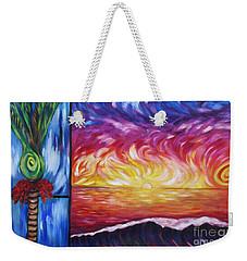 Nikau And Sea Shore Sunset Weekender Tote Bag