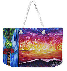 Weekender Tote Bag featuring the painting Nikau And Sea Shore Sunset by Dianne  Connolly