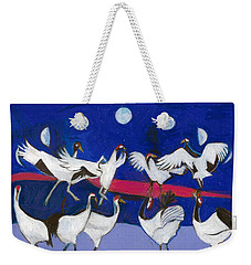 Weekender Tote Bag featuring the painting Nine Dancing Cranes by Denise Weaver Ross