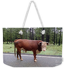 Weekender Tote Bag featuring the photograph No Bull by Roberta Byram